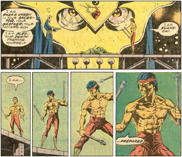 From the expressionism of the top panel — where the bad guy's face, seen from Shang-Chi's POV, is laid over the scene, to the cinematic zoom of the bottom tier; *that's* how you build tension